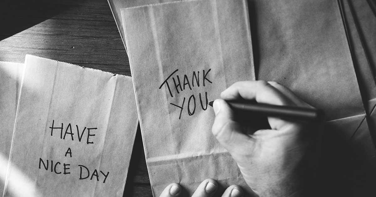 A handwritten Thank You note